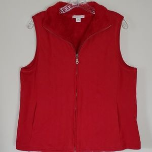 Coldwater Creek red vest faux fur lining Large